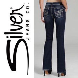 Silver Suki fluid denim 34/34 mid flare jeans NWOT